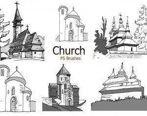 20 Sketch Church PS Brushes abr. vol.4 Photoshop brush
