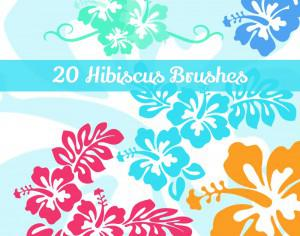 20 Hibiscus Flowers PS Brushes Photoshop brush