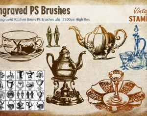 Engraved Kitchen Items PS Brushes abr Photoshop brush