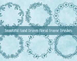 Cute Hand Drawn Sketchy Floral Frame Brushes Photoshop brush