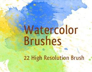 22 Watercolor Brushes Photoshop brush