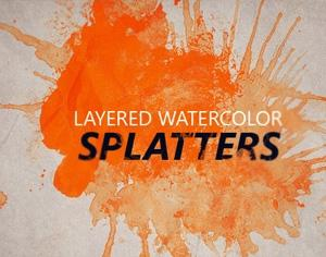 Layered Watercolor Splatters Photoshop brush