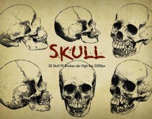 "20 Skull PS Brushes abr ""Engraved"" vol.6  Photoshop brush"