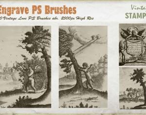 Vintage Engrave Love PS Brushes abr. Photoshop brush