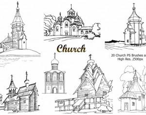 20 Church PS Brushes abr.vol.3 Photoshop brush