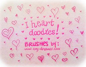 """I heart doodles!"" Brushes Photoshop brush"