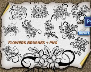 11 Flower Ornaments Brushes Photoshop brush