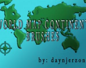World Map Continent Brushes Photoshop brush
