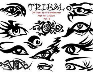 20 Tribal Eye PS Brushes Vol.18 Photoshop brush
