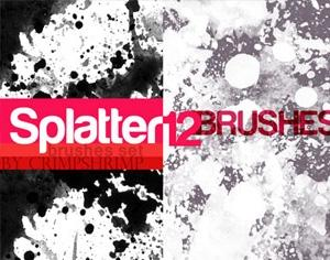 12 Splatter Brushes Photoshop brush