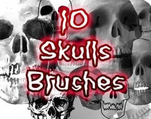 10 Creepy Skulls Brushes Photoshop brush