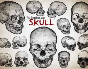 20 Engraved Skull PS Brushes abr  vol.7 Photoshop brush