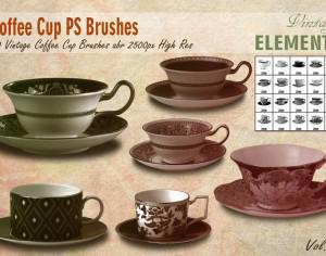 Vintage Coffee Cup Brushes abr. Photoshop brush
