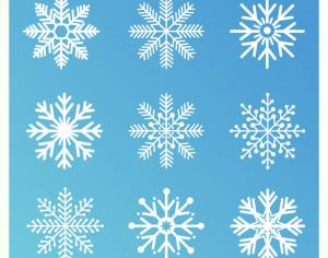 Christmas background with set of snowflakes Photoshop brush