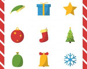 Christmas vector illustration with set of icons Photoshop brush