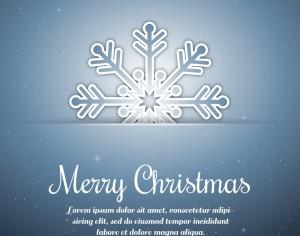 Christmas background with typography and snow flake Photoshop brush