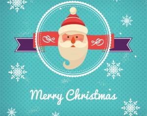 Christmas background with typography and badge and santa Photoshop brush