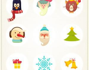 Christmas background with christmas icons Photoshop brush