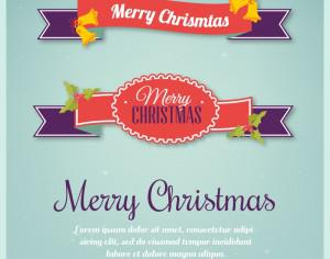 Christmas background with typography and ribbons Photoshop brush