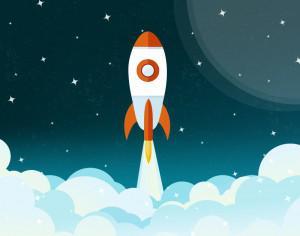 Space rocket flying illustration Photoshop brush