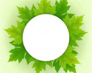 Badge with fresh green leaves Photoshop brush