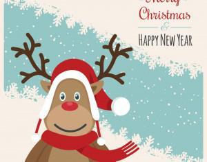 Christmas illustration with rendeer Photoshop brush