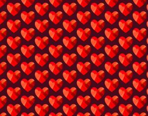 Love pattern with red abstract hearts Photoshop brush