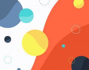 Colorful Circles on Wave Background Photoshop brush