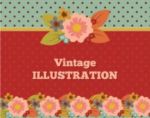 Vintage flower illustration with typography Photoshop brush