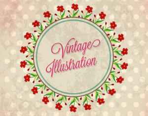 Vintage flower illustration with badge Photoshop brush