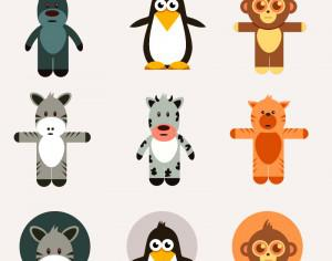 Cute animals vector set Photoshop brush