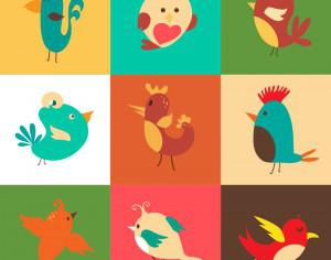 Cartoon vector set with birds Photoshop brush