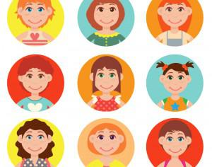 Cute avatars vector set Photoshop brush