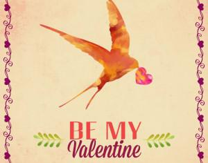 Happy Valentine's Day vector illustration with bird Photoshop brush