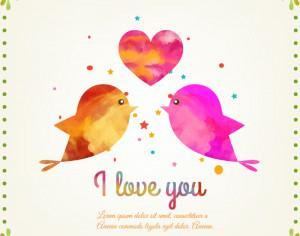 Happy Valentine's Day vector illustration with birds Photoshop brush