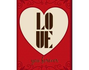Vintage vector poster with love typography Photoshop brush