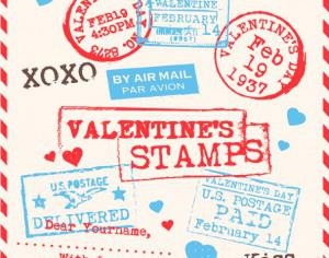 Various Valentines Stamps Background Photoshop brush
