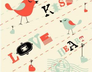 Valentines Card Background with Birds Photoshop brush