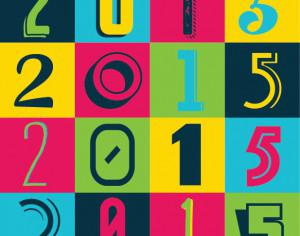 Colorful 2015 New Year Poster Background Photoshop brush