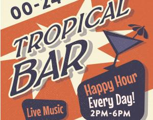 Vintage Tropical Bar poster Photoshop brush