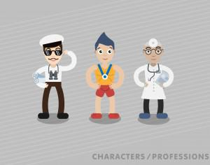 Three characters in different professions: shipman, sportsman, doctor Photoshop brush