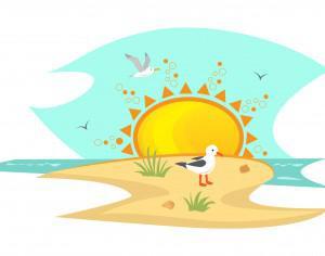 Beach With Seagulls Photoshop brush
