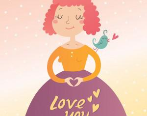Vector illustration of young woman in love. Valentine's day card Photoshop brush