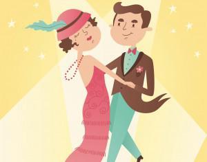 Illustration of vintage dance couple Photoshop brush