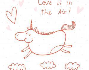 Illustration of happy unicorn Photoshop brush