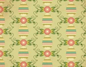 Easter pattern with egg, flower and decoration Photoshop brush