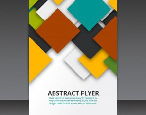 Flyer Template Vector Design with colorful 3D Squares  Photoshop brush