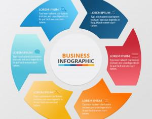 Business infographic of colorful circular banners with arrows  Photoshop brush