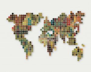 abstract colorful dot style world map pattern background Photoshop brush