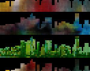 abstract colorful dot style city building pattern background Photoshop brush